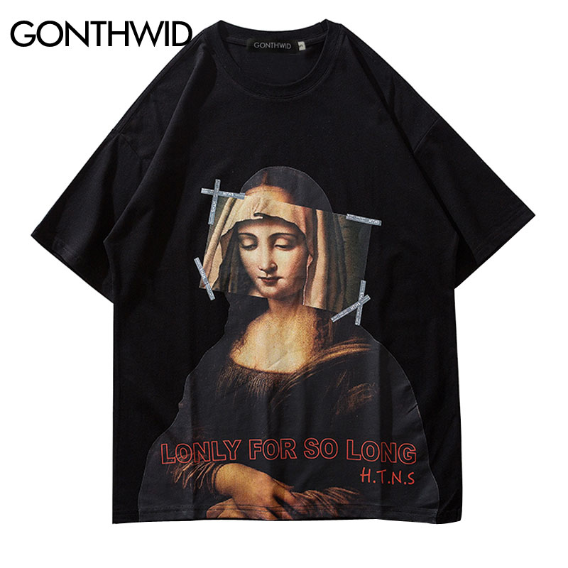 GONTHWID Mona Lisa T Shirts Streetwear Men 2019 Hip Hop Harajuku Style Casual Printed Short Sleeve Tshirts Male Fashion Top Tees(China)