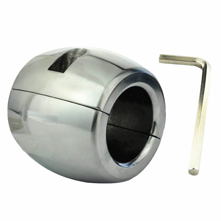 New Male Heavy Metal Ball Stretcher Pendant Ring Testicular Chastity Device Penis Cage<br>