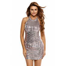 2017 New Women Summer Sexy Sparkling Sequin Tank Mini Party Dress grandes lentejuelas vestidos feminino with paillette LC22574