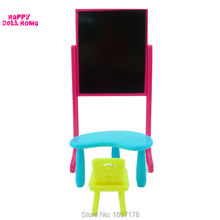 One Set New Arrival Kelly Doll Accessories Fashion Classing Room Furniture Desks + Chair + Blackboard For Barbie Doll Best Gift(China)