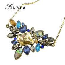 Fashion Colorful Rhinestone Necklaces Pendants Boho Flower Maxi Statement Necklace Antique Gold-Color Vintage Pendant Necklace