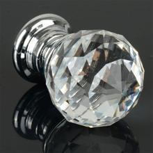 1PC Home Kitchen Decor Round Diamond Clear Crystal Glass Drawer Cabinet Cupboard Wardrobe Door Handle Knobs Home Improvements(China)