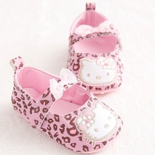 New Sweet Cute Very Light Hello Kitty Fashion Leopard Newborn Baby Girl Princess Mary Jane Bow First Walkers Infant Toddler Shoe