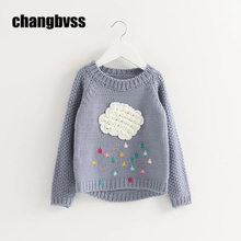 New Autumn Winter Baby Girls Knitted Sweater Cloud Raindrop Kids Clothes Long Sleeve Girls Children Kniwear Sweatershirt casaco(China)
