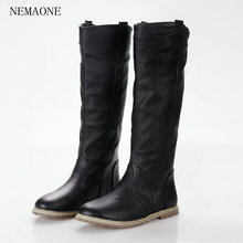 NEMAONE size 34-43 2016 New fashion women boots flat boots knee boots women black white brown color
