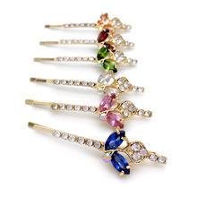 6pcs Mix Colors Hair Jewelry Oval Zircon Hairpins Ellipse Leaf Crystal Hair Barrettes Rhinestone Headwear Women Hair Accessories(China)