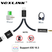 VOXLINK 12cm Earphone Audio Cable For iPhone 7 7 Plus 2 in1 8 Pin to 3.5mm Headphone Jack Adapter Charger Cable support IOS 10.3(China)
