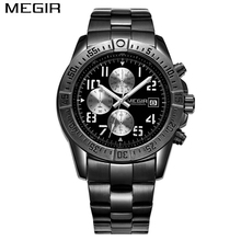 MEGIR Men's Fashion Black Watch Chronograph Military Quartz Watches Top Luxury Brand Men Wristwatches