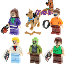 Cartoon Movie  Cute scooby doo daphne Fred Shaggy velma building blocks self-locking bricks toys for children