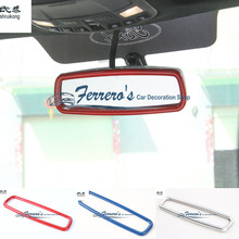 Free shipping 1pc car styling sticker ABS Chrome Inner rearview mirror decorative trim cover for 2015 2016 Ford F150