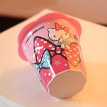 Cute HelloKitty universal leakproof cup lid Anti-dust Cup Cover Coffee Suction Seal Lid Cap Silicone Airtight Novelty