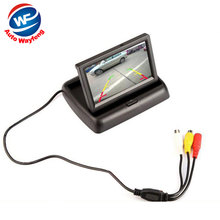 "Free Shipping 2CH Video 4.3 "" Foldable TFT LCD Color HD CCD Car Rear View Camera Rearview Mirror Car Monitor(China)"
