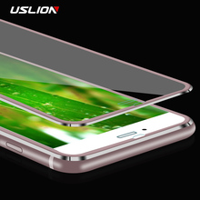 USLION 3D Curved Edge Aluminum Alloy Tempered Glass For iPhone 8 8 Plus Screen Protector Full Cover Protective Film For iPhone8(China)