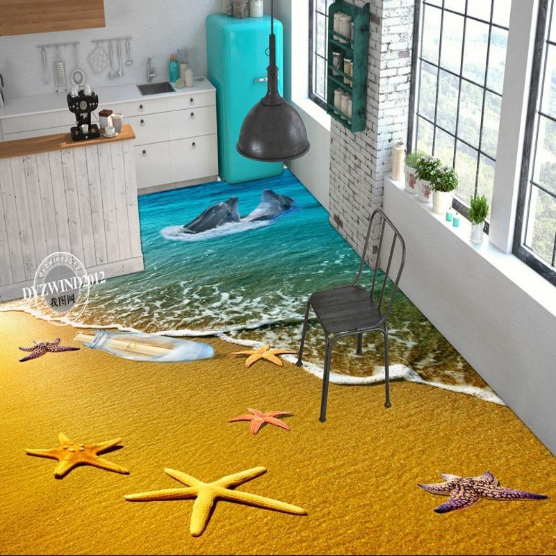 Free Shipping custom Sea World Dolphin 3D flooring photo wallpaper bedroom office studio floor wallpaper mural<br>
