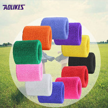 2 Pcs/lot wristbands cheap sports wrist band basketball hand support tennis brace wraps blue green gym accessories AOLIKES(China)