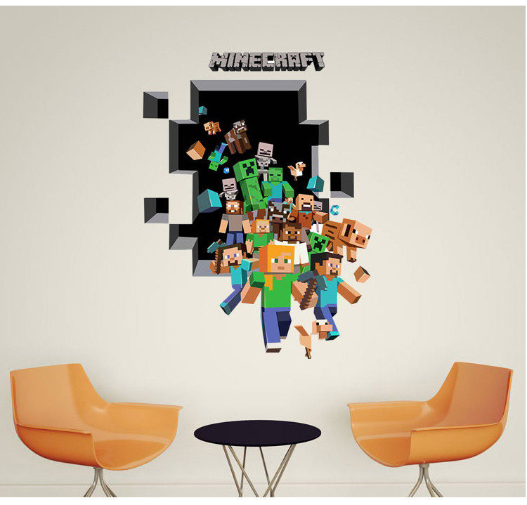 HTB1xvUViYwTMeJjSszfq6xbtFXaU - Newest Minecraft Wall Stickers 3D Wallpapers Kids Room Decals Minecraft Steve Home Decoration Popular Games Home Free Shipping