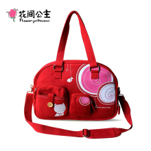 "Flower Princess Brand Canvas Handbag for Women Red Hobos Bag 14"" Laptop Tote Bag Ladies Fashion Shoulder Bags Crossbody Bag 6DNB"