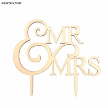 Wedding Cake Topper Monogram Mr and Mrs cake Topper Design, Wood Cake Topper, Personalized with Last name(China)