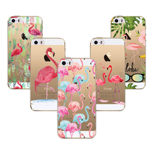 Case for iPhone 5 5s SE 6 6s 7 Flamingo Cute Animals Birds Transparent Soft TPU Silicone Phone Back Cover Fundas Capa Coque(China)