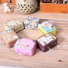 Shape Candy Vintage Suitcase Storage Box Wedding Favor Tin Box Cable Organizer Container Household Storage Boxes & Bins