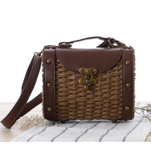 Retro Handbag Vintage Straw Tote Bag With Rivet Decration Shoulder Messenger Bag Colurful Women Shopping Bags