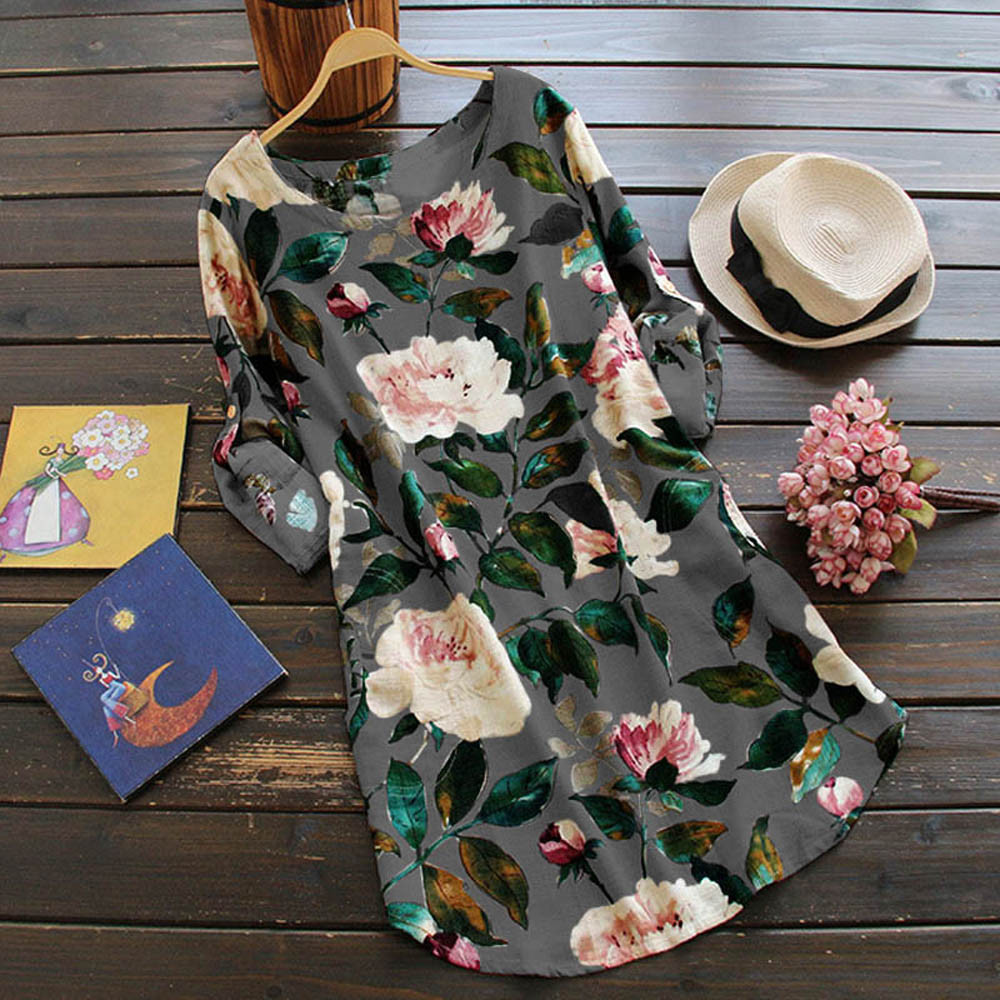 19 New Women Loose Floral Print Dress Ladies Mini Dress Summer Casual Party Dresses Long Sleeve Dress Plus Size 2