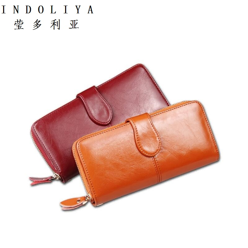 Lowest Price 100% Wax oil skin Women Wallet Phone Pocket Purse Wallet Female Card Holder Lady Clutch Carteira Feminina(China (Mainland))