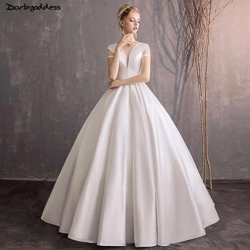 cb7860074cfc Simple Wedding Gown with Pocket White Princess Wedding Dresses Satin Ball Gown  Wedding Dress 2018 Short