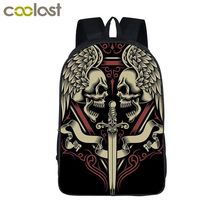 Cool Tattoo Angel Skull Backpacks Boys Girls School Bags Student Teenage Punk Shoulder Bag School Backpack Women Men Travel Bag(China)