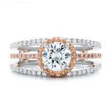 Halo 1CT simulate Diamond 9k Solid Gold Jewelry Two Gold Plated Engagement Diamond Wedding Ring For Women(China)