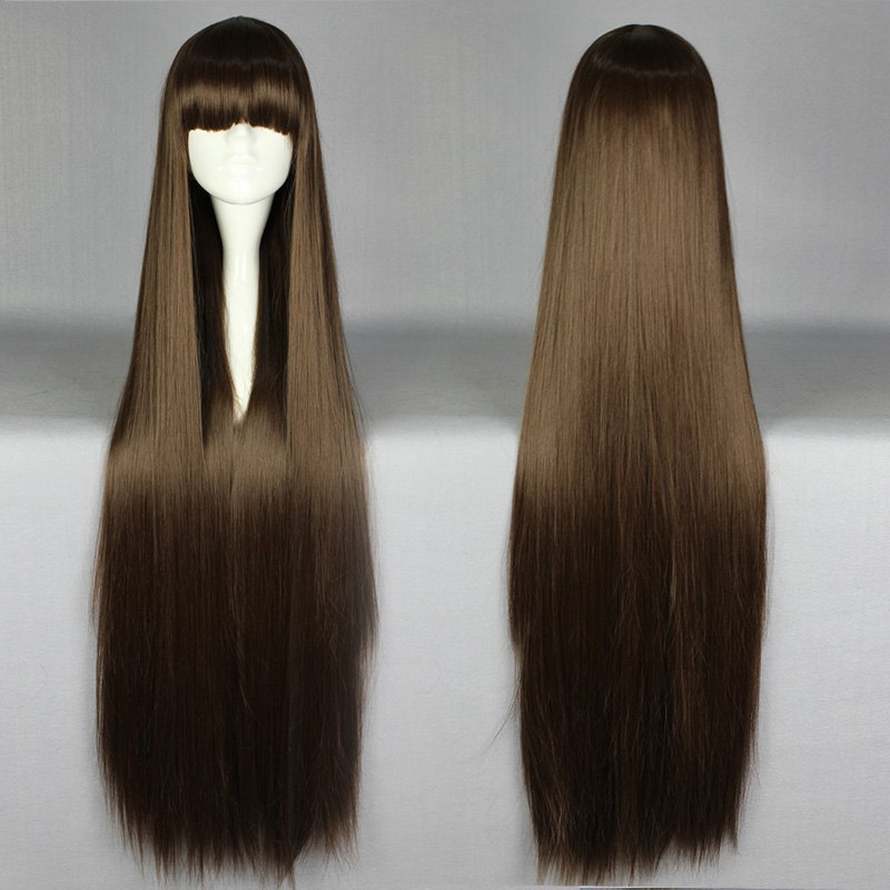 100 Cm Synthetic Harajuku Anime Cosplay Wigs Yong Long Straight Full Hair Wigs For Women Lady Girl Cosplay Costume Party Brown <br><br>Aliexpress