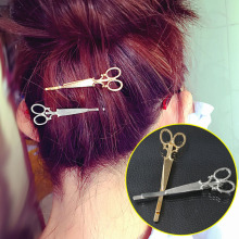 2pcs creative gold silvery scissors shape hair clip hairclip hair accessories for women girls,hairpins barrettes bobby pins(China)