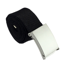 MYPF-New Practical Mens Black Military Canvas Webbing Web Belt Metal Buckle (Black)