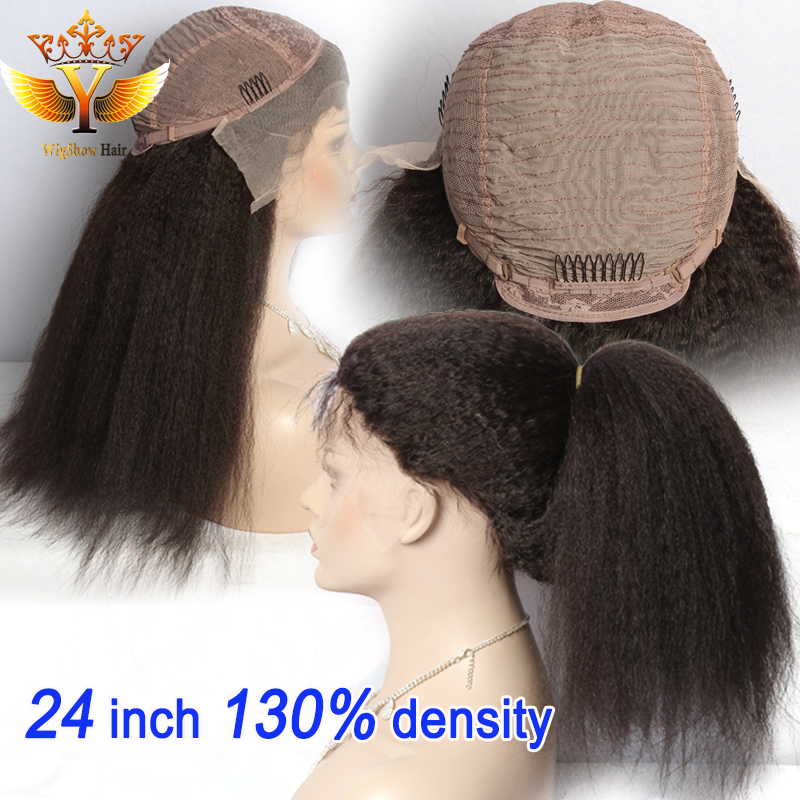 Virgin Brazilian Human Hair Light Yaki Full Lace Wigs With Bleached Knots for Black Women Peruvian Kinky Straight Lace Front Wig<br><br>Aliexpress
