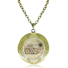 Vintage bicycle art photo locket necklace bike pendant necklace glass cabochon pendants women accessories 2017 collares necklace(China)