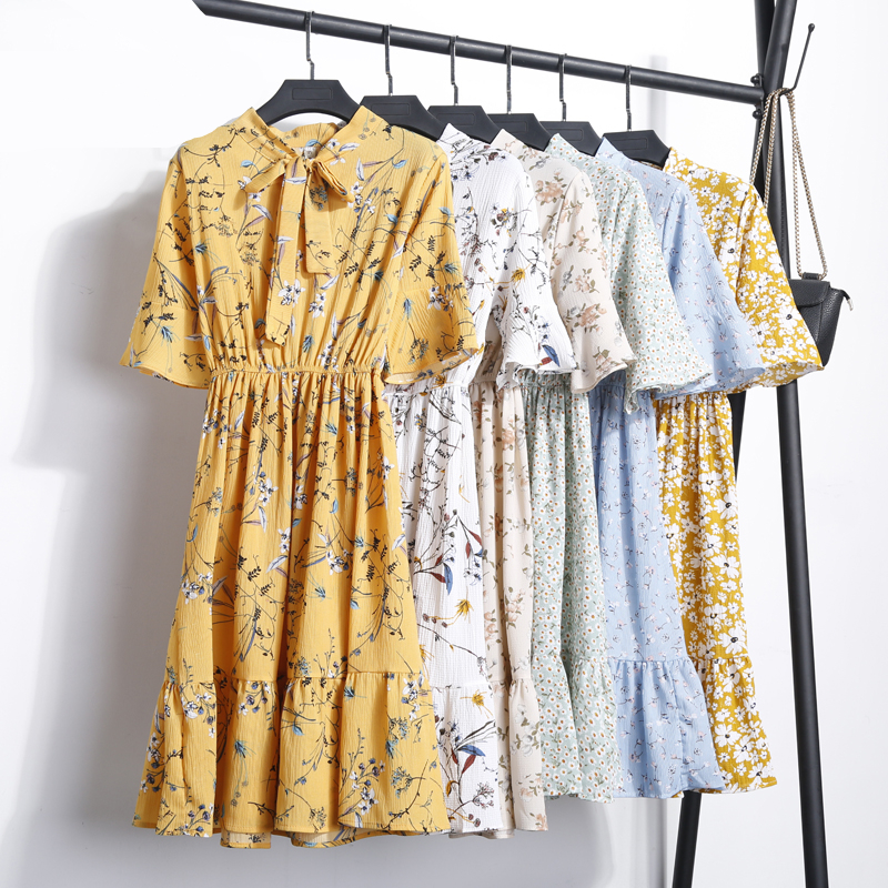 SunnyYeah 2018 Chiffon Summer Dress Women Clothing Floral Print Dress Short Sleeve Casual Dresses Female vestidos de festa Robe