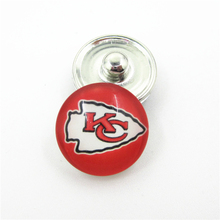 20pcs/lot Kansas City Chiefs NFL Teams Snap Buttons DIY 18mm Glass Football Sports Ginger Snap Jewelry Bracelets&Bangles