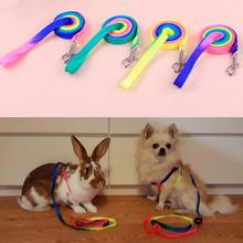 Adjustable Rainbow color Pet Dog Leash Small Puppy Cats Rabbit Kitten Nylon Leash Harness Collar Lead
