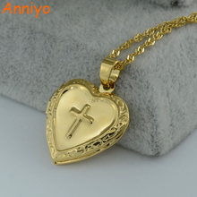 Anniyo Cross Box Necklace for Womens/Girl,Crucifix Pendant Gold Color Brass Real Charm Latin Cross Heart Necklaces #004302(China)
