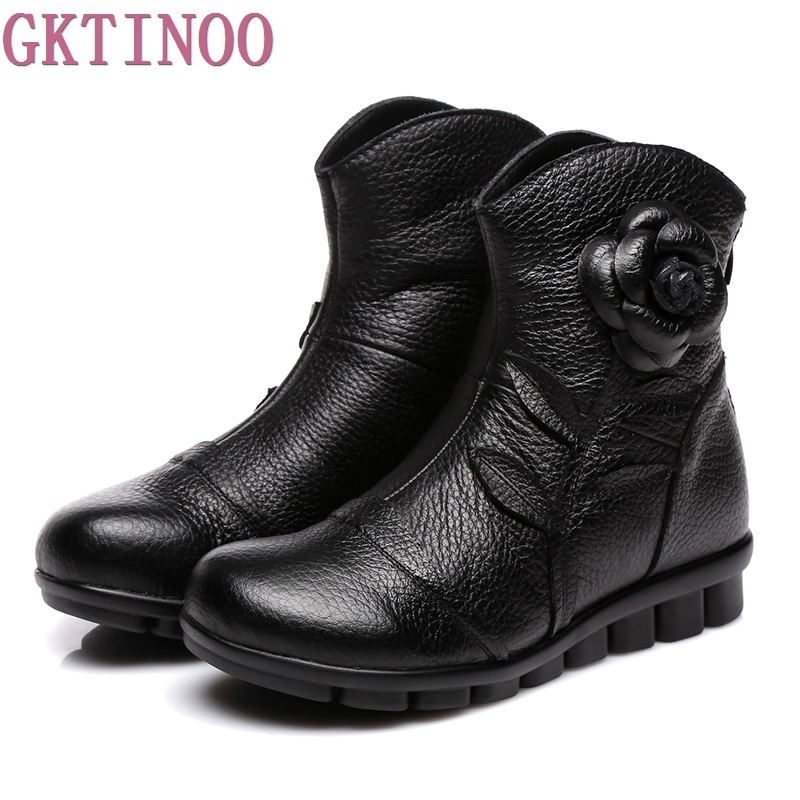 2017 Women Shoes Spring Female Genuine Leather Boots Handmade Vintage Style Ankle Boots Fashion<br>