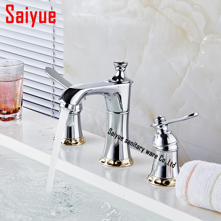 3 Hole Two Handle Widespread Laundry Utility Bathroom Faucet Modern Hotel  Style Polished Chrome Basin Sink Mixer Tap