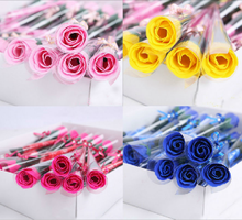 100 x European Style Soap Flower Wedding Favors Birthday Party Table Decoration Lover Gifts Single Rose Soap Artificial Flowers(China)