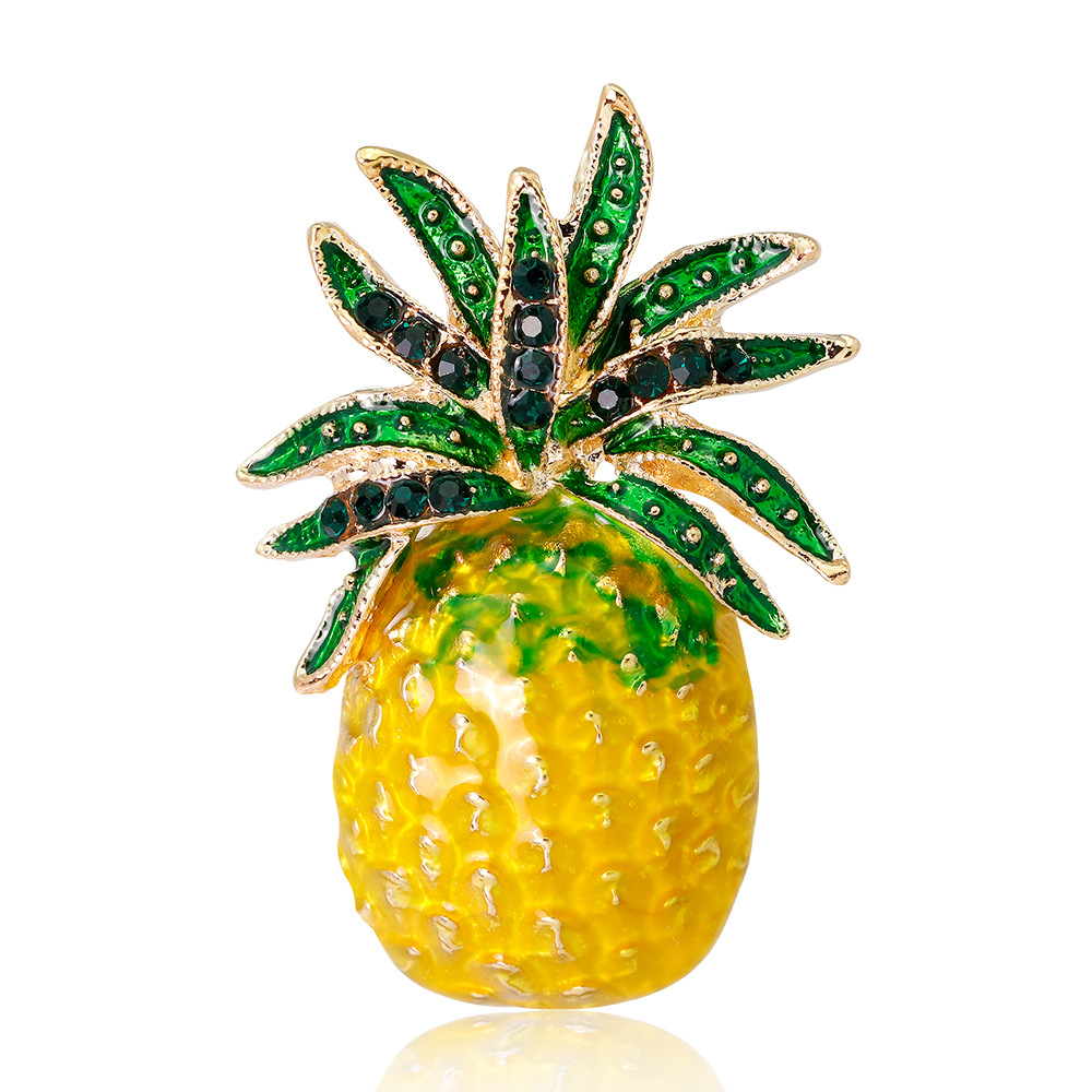 CHUKUI  Austria Rhinestone Inlay Enamel Pineapple Brooches For Women Cute Fruit Brooch Pin Dresses Coat Corsage Broches Gift (3)