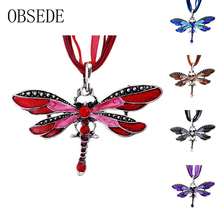 OBSEDE 2017 New Fashion Dragonfly Sweater Necklace Vintage Collar Statement Necklace For Women Accessory Fine Jewelry Gift