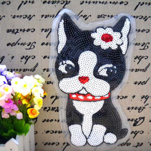 Free shipping women girl clothes animal Sequins patches dog logo fashion embroidery patch for clothing patchwork fabric