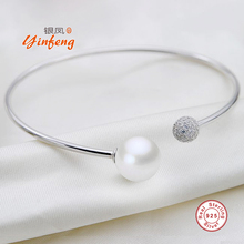 [Yinfeng]925 Sterling Silver real pearl simple bracelet bangle for women white/pink/purple fashion charm jewelry gift box