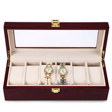 High Quality 6 Slots Luxury Wood Watch Display Case Watches Box Elegant Jewelry Storage Organized caixa para relogio