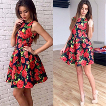 Women Summer Dress 2017 Fashion Sleeveless Sexy Print Floral Party Dresses Elegant Casual Beach Vintage Mini Sun Dress Plus Size