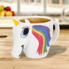Cartoon Unicorn Mug Unicorn Discoloration Cup 3D Ceramic Coffee Cup Girl Creative Cute Gift color changing Magical Horse Cups(China)