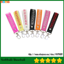 Gum for Keychain Sport Seamed Lace Leather key Chain Herringbone Softball Fast Pitch Baseball Stitch Keychain(China)